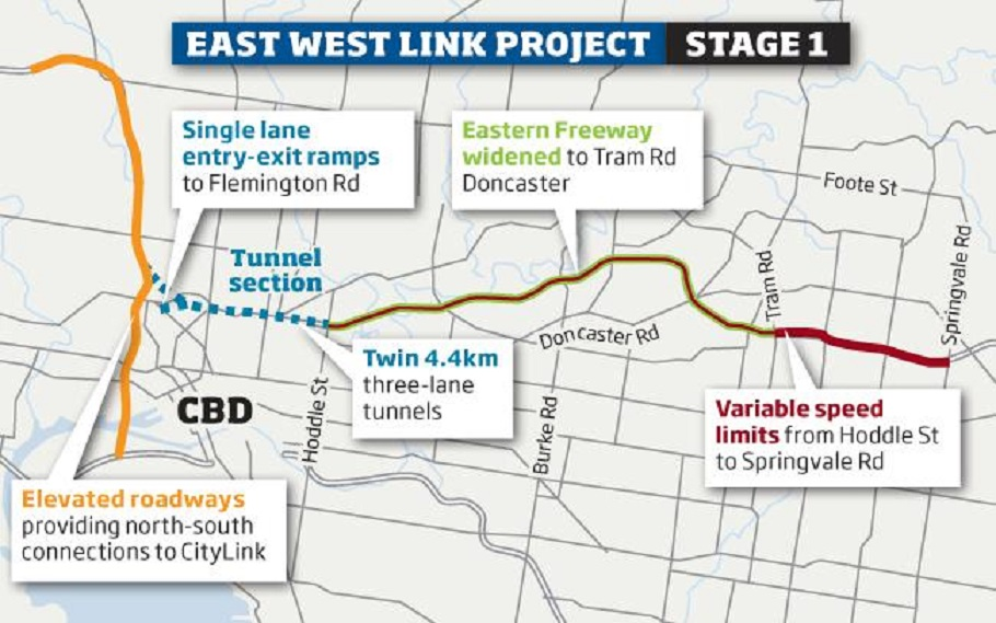 East West Link Map East West Link   Roads Australia